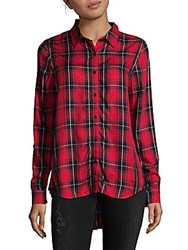 Beach Lunch Lounge Hi Lo Button Down Shirt Red