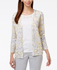 Alfred Dunner Embellished Pointelle Layered Look Sweater White