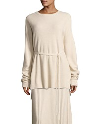 Elizabeth And James Gisella Slouchy Rib Knit Crewneck Belted Sweater Beige