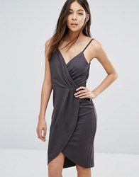 Wal G Cami Dress With Wrap Skirt Grey