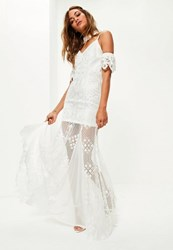 Missguided Bridal White Cold Shoulder Lace Maxi Dress
