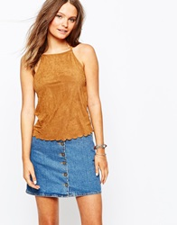 New Look Scallop Suedette Cami Tan