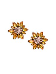 Heidi Daus Marquise Crystal And Rhinestone Flower Stud Earrings Rose