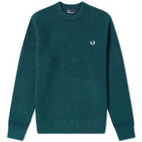 Fred Perry Ribbed Crew Knit Green