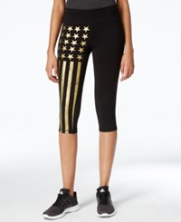 Material Girl Active Juniors' Cropped Foil Graphic Leggings Only At Macy's Black