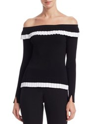 Scripted Ruffled Off The Shoulder Sweater Black White