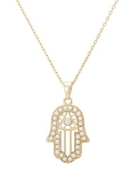 Lord And Taylor Goldtone Necklace With Pearl Crystal Embellished Hamsa Pendant Pearl Gold