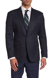 Kenneth Cole Reaction Blue Woven Two Button Notch Lapel Blazer 414Blue