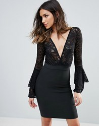 Wow Couture Plunge Wrap Front Lace Top Bandage Bodycon Dress Black