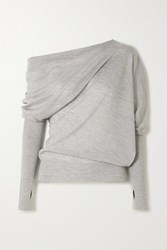 Tom Ford Off The Shoulder Cashmere And Silk Blend Sweater Gray