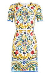 Dolce And Gabbana Printed Silk Sheath Dress