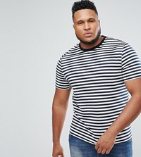 Asos Plus Stripe T Shirt In Navy And White Navy