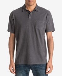 Quiksilver Waterman Men's Textured Stripe Polo Classic Fit Black