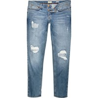 River Island Mens Light Wash Ripped Sid Skinny Stretch Jeans