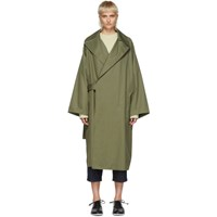 Y's Khaki Cotton Trench Coat