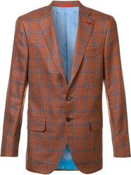 Isaia Classic Checked Blazer Yellow Orange