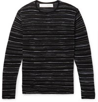 Isabel Benenato Slim Fit Striped Knitted Sweater Black