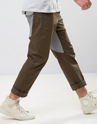 Asos Straight Carpenter Pants With Contrast Back Panel In Khaki Green