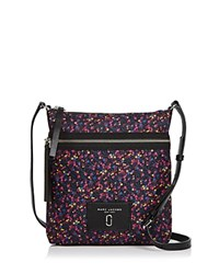Marc Jacobs Biker North South Mixed Berries Print Nylon Crossbody Blue Multi Silver