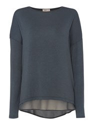 Label Lab Knit And Chiffon Layered Top Teal