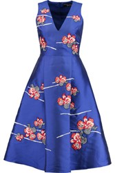 Noir Sachin And Babi Estelita Floral Appliqued Satin Twill Dress Royal Blue