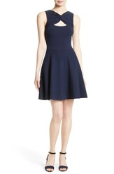 Milly Women's Fit And Flare Knit Dress Navy
