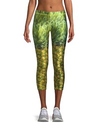 Terez Pineapple Printed Capri Performance Leggings Green Pattern