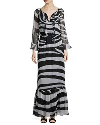 Diane Von Furstenberg Long Sleeve Zebra Print Maxi Dress Black White Zebra Simple Blac