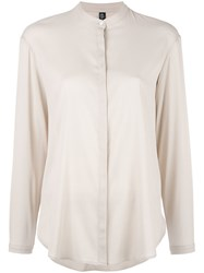 Eleventy Band Collar Shirt Nude Neutrals