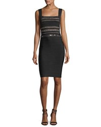 Herve Leger Square Neck Beaded Bandage Cocktail Dress Black Pattern