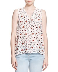 The Kooples Printed Half Zip Silk Tank Ecru