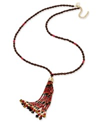 Thalia Sodi Gold Tone Red And Jet Beaded Tassel Necklace Only At Macy's
