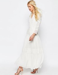 Asos Maxi Dress With Lace And Crochet Inserts White