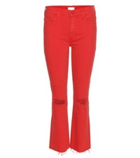 Mother The Insider Crop Fray Jeans Red
