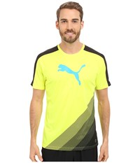 Puma It Evotrg Cat Graphic Tee Safety Yellow Atomic Blue Men's Short Sleeve Pullover
