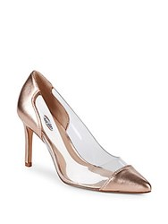 Charles David Clear Metallic Leather Pumps Rose Gold