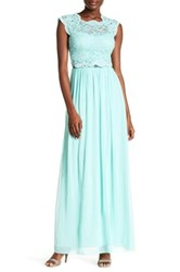 City Triangles Lacy Cap Sleeve Gown Blue