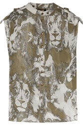 Roberto Cavalli Printed Silk Georgette Top Army Green