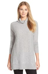 Petite Women's Halogen Cashmere Funnel Neck Tunic Heather Grey