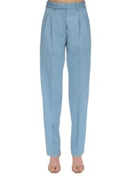 Stella Mccartney High Waist Tailored Stretch Wool Pants Light Blue