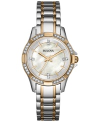 Bulova Women's Crystal Accent Two Tone Stainless Steel Bracelet Watch 30Mm 98L203