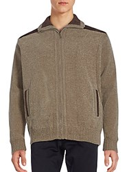 Saks Fifth Avenue Chenille Front Zip Jacket Tan