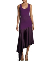 Prabal Gurung Sleeveless Knit Dress W Asymmetric Hem Purple