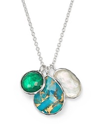 Ippolita Sterling Silver Wonderland 3 Stone Charm Necklace In Chrysoprase Multi 16