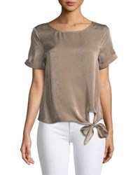 Evidnt Satin Tie Hem Blouse Brown