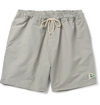 Mollusk Mid Length Cotton Blend Faille Swim Shorts Gray