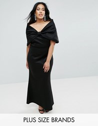 Club L Plus Bardot Bow Detail Maxi Dress Black