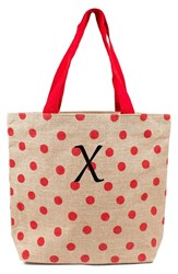 Cathy's Concepts Personalized Polka Dot Jute Tote Red Red X