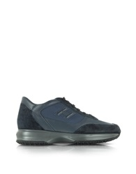 Hogan Dark Blue Fabric And Suede Wedge Sneaker