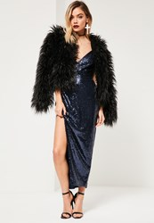 Missguided Navy Sequin Plunge Asymmetric Strap Maxi Dress